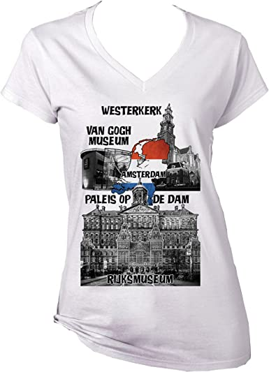 teesquare1st Amsterdam Netherlands Camiseta para Mujer de Algodon ...