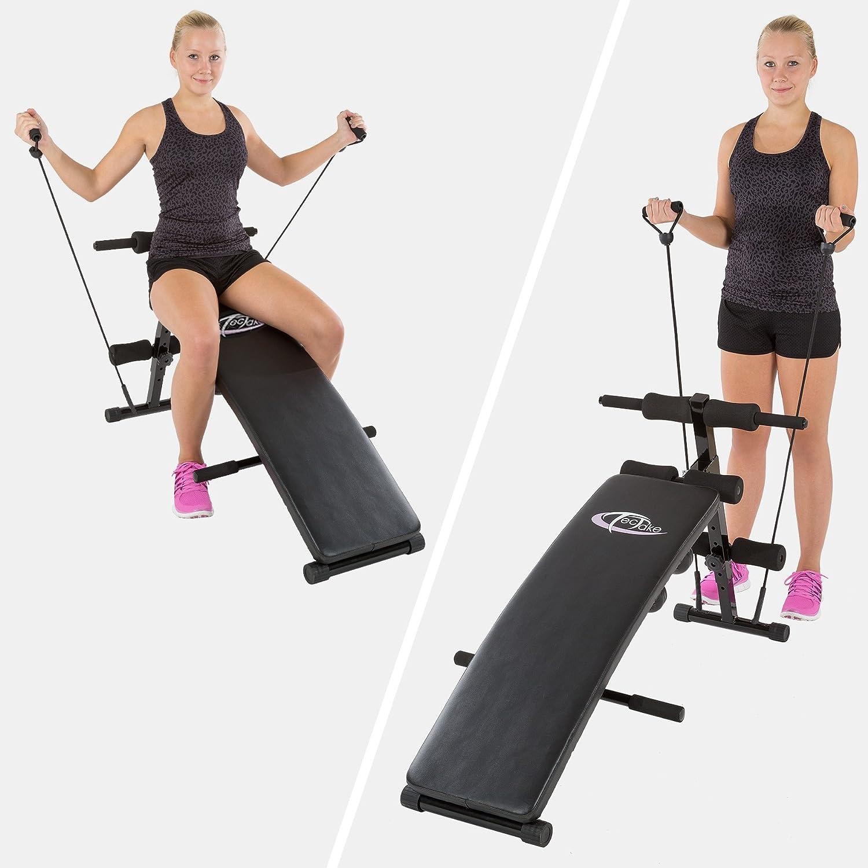Generic banco de pesas plegable de abdominales ABDOMINAL DOMINAL AB CRUN ng cuerdas gimnasio en casa ejercitador de máquina + 2 mancuernas + 2 cuerdas de ...