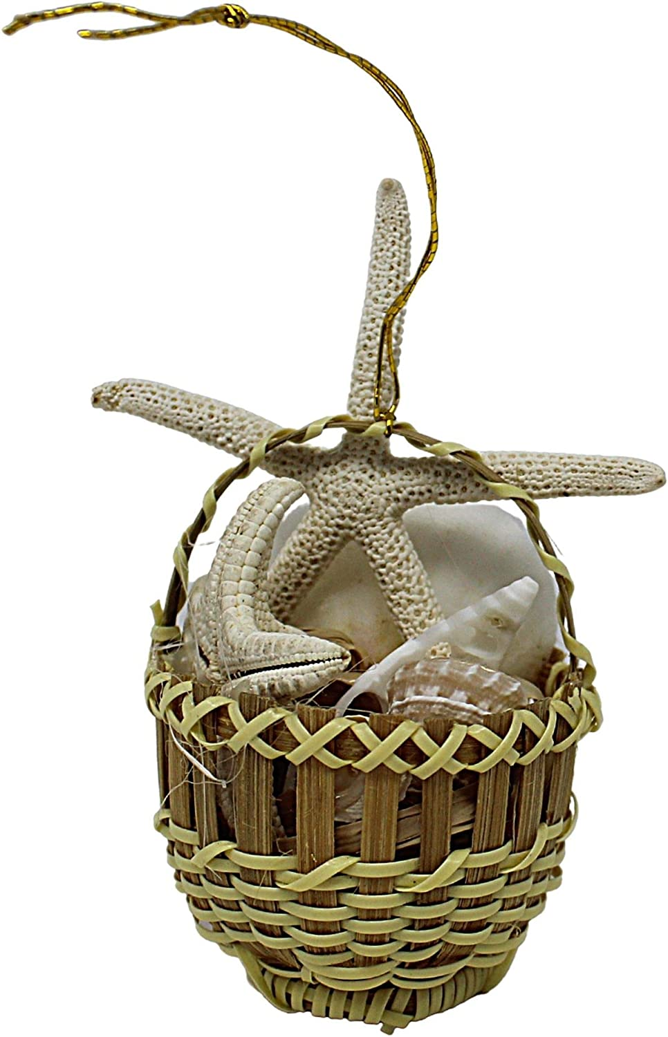 Nautical Theme Home Decor, Mini Woven Basket Filled with Seashells, Beachy Decoration for Beach House, 4.5 Inches
