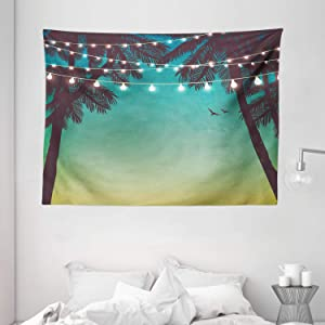 "Ambesonne Nature Tapestry, Night Time Beach Sunset Design with Little Lantern and Island Palm Trees Art Print, Wide Wall Hanging for Bedroom Living Room Dorm, 80"" X 60"", Pale Teal"