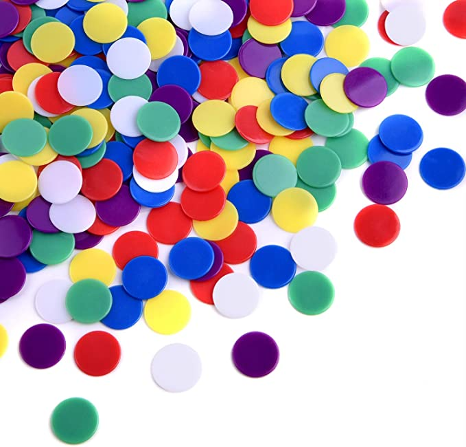 Color Random 500 Pieces Counters Counting Chips Plastic Markers for Bingo Chips Game Tokens Counting Chip Plastic Markers