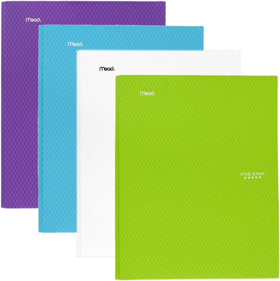 Five Star 2 Pocket Folders with Prong Fasteners Teal 4 Pack White Plastic Lime Folders with Pockets Purple 38126