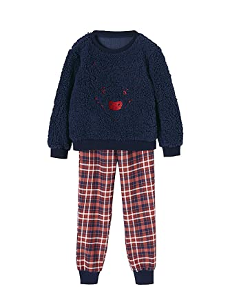 79033892268dc Vertbaudet Pyjama bi-matière garçon Bison brodé Carreaux Marine Grise 2 A