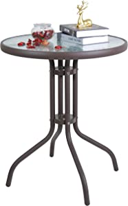 LITA Outdoor Round Glass Patio Bistro Dining Table with Thicken Metal Frame and Water Ripple Glass - 24 inch Brown