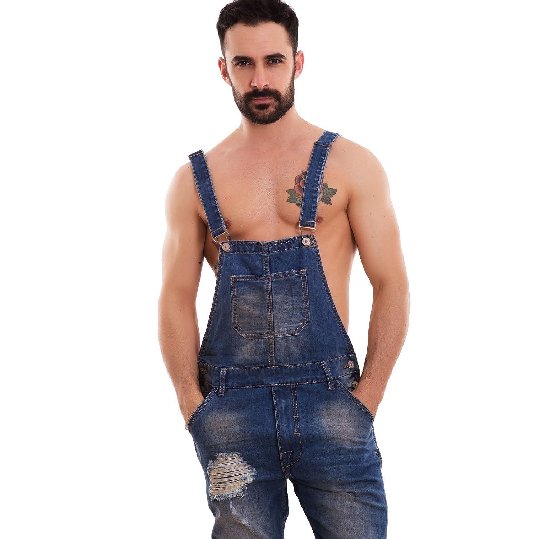 Salopette Uomo Jeans Overall Tuta Intera Denim Strappi Casual Slim Cotone L212 Toocool