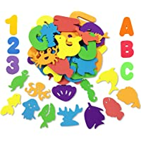 kockuu 66pcs Foam Bath Tub Toys Letters Alphabet Numbers Animals Stickers Set with Bathtube Toy Organizer for…