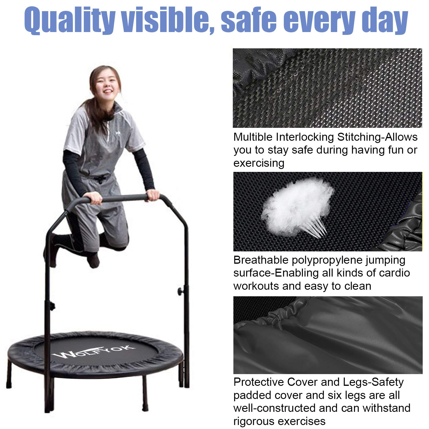 Wolfyok Exercise Trampoline with Safety Pad Adjustable Handle Bar Portable & Foldable Rebounder for Adults Kids Body Fitness Training Workout Max Load 220 lbs Black by Wolfyok (Image #2)