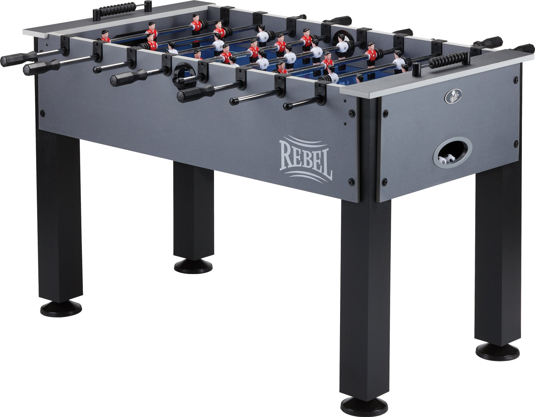 Fat Cat Rebel 4.5' Foosball Table with Easy Snap Rods for Quick Assembly, and Sharp Blue Playing Field and Abacus Scoring by Fat Cat by GLD Products
