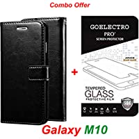 Goelectro Samsung Galaxy M10 / Galaxy M10 (Combo Offer) Leather Dairy Flip Case Stand with Magnetic Closure & Card Holder Cover + Tempered Glass Full Screen Protection (Black-Transparent)