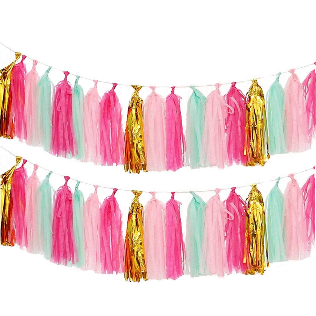 Derhom Tissue Paper Tassel Garland - 20pcs Tassels per Package - 12 inch Long Tassels (Gold/Pink) Derhom-002