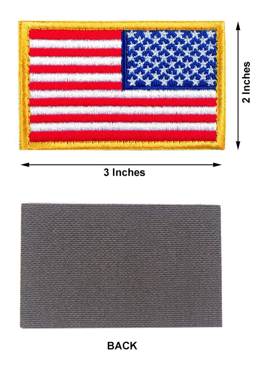 Military Army Uniform Emblems with Hook and Loop for Backpacks Caps Hats Jackets Pants Size 3x2 Inches Tactical Patches of USA US American Flag Reverse