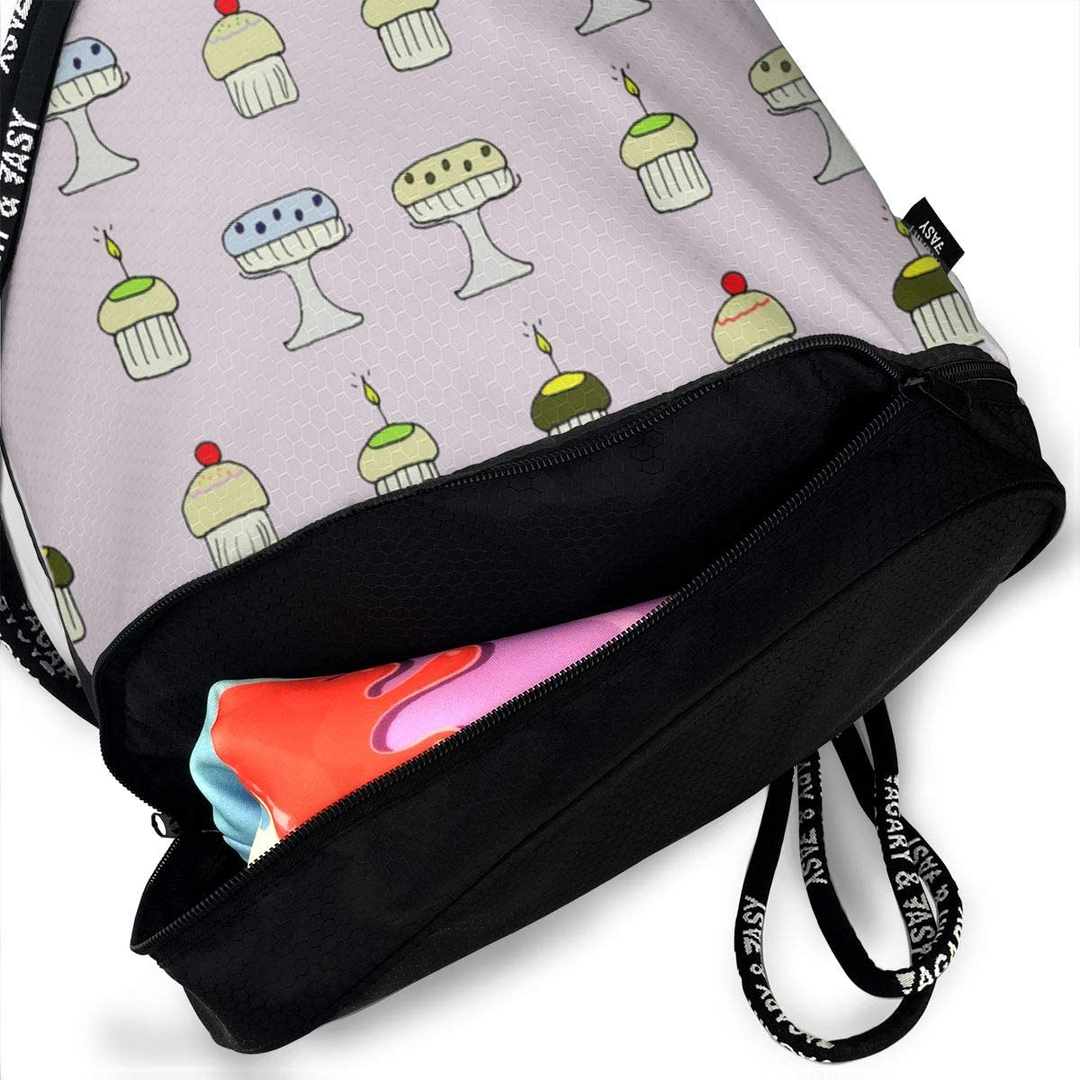 New Cakes Drawstring Backpack Sports Athletic Gym Cinch Sack String Storage Bags for Hiking Travel Beach