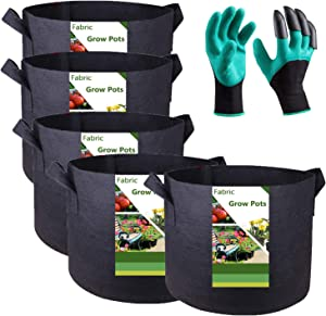 Tespher Professional 5-Pack 15 Gallon Round Fabric Pots Grow Bags (20x12 inches) with Coated Garden Gloves, Root Aeration Containers Plant Bags Flower Pouch Vegetable Nursery Planters
