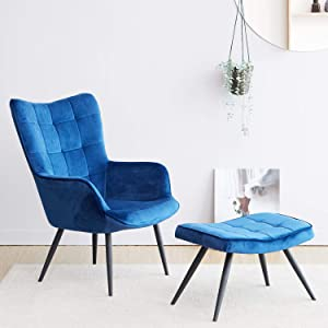 Livinia Velvet Fabric Mark Relax Armchair Accent Chair with footrest, Lazy Chair Modern Lounge Leisure Chair Set with Stool Ottoman for Home Bedroom Living Room Balcony Lounge