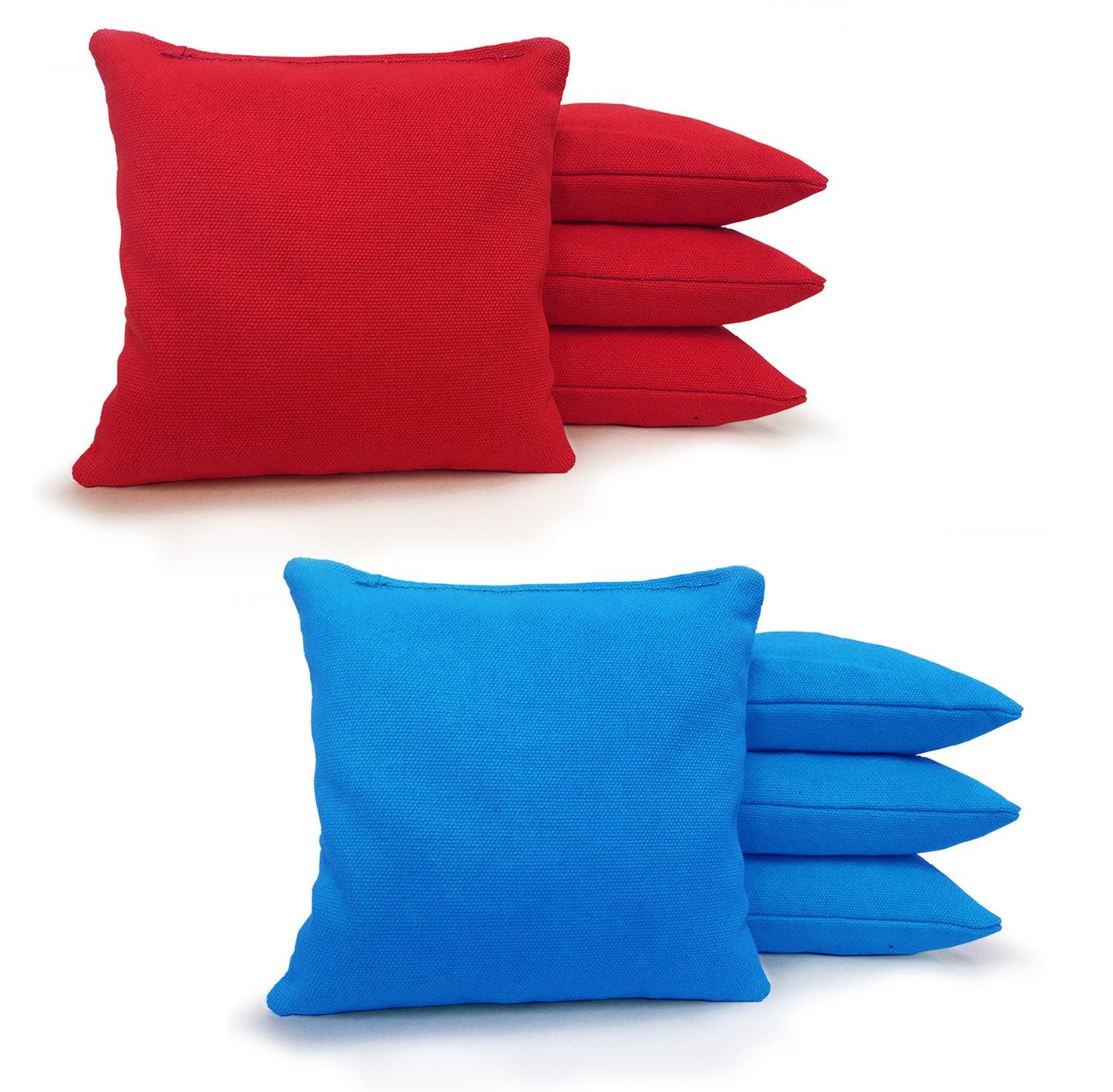 Johnson Enterprises, LLC 8 Standard Corn Filled Regulation Duck Cloth Cornhole Bags 17 Colors Available (You Pick)!! (Red/Turquoise) by Johnson Enterprises, LLC