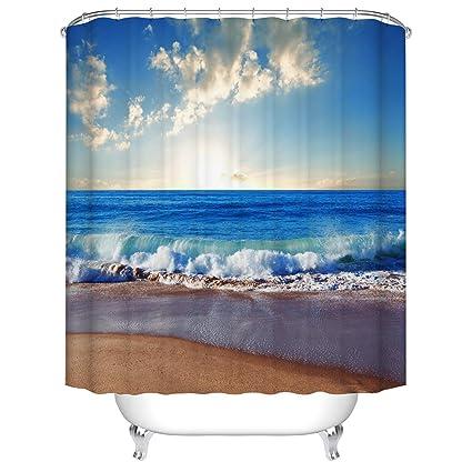 Fangkun Beach Ocean Theme Shower Curtain