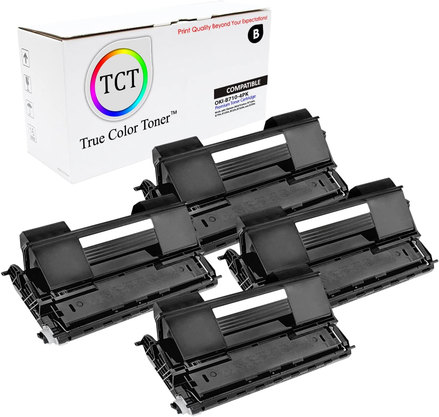 4 Pack 15,000 Pages TCT Premium Compatible Toner Cartridge Replacement for Okidata B710 52123601 Black Works with Okidata B720 B730 Printers