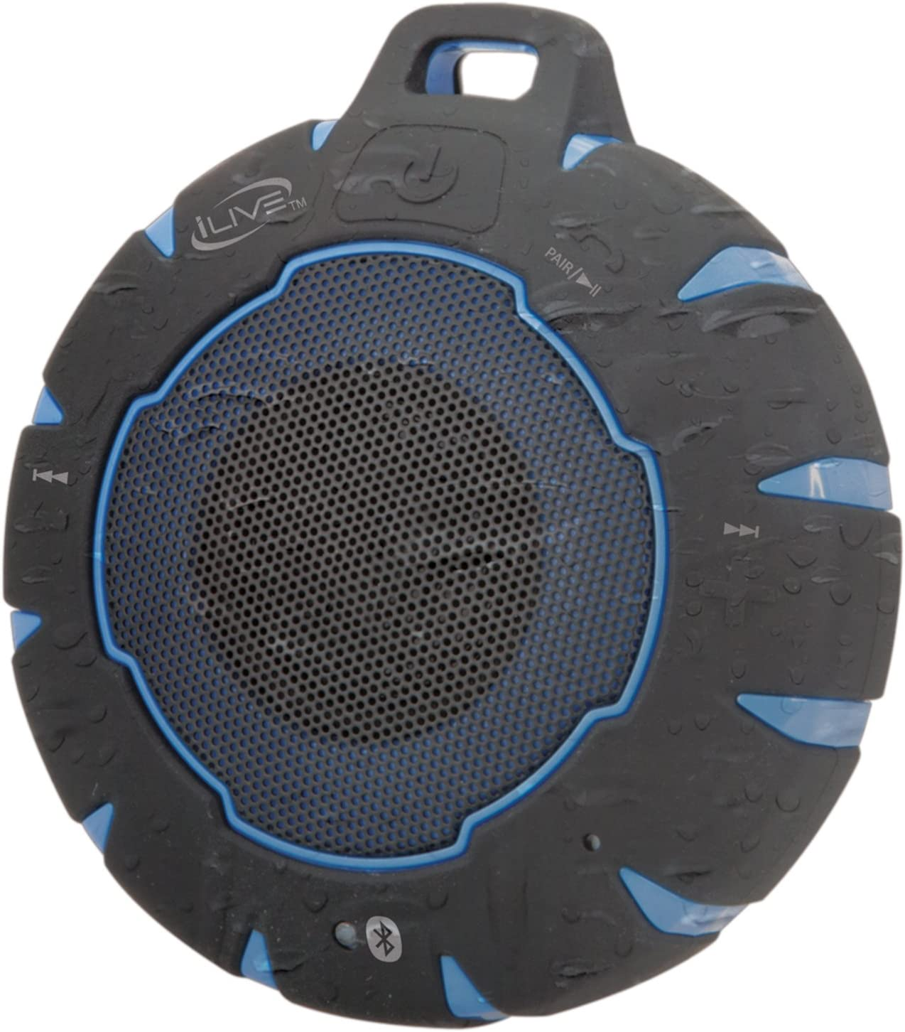 iLive Waterproof Wireless Speaker, Includes Detachable Carabiner Clip and  Micro-USB to USB Cable, Black/Blue (iSBW10BU)
