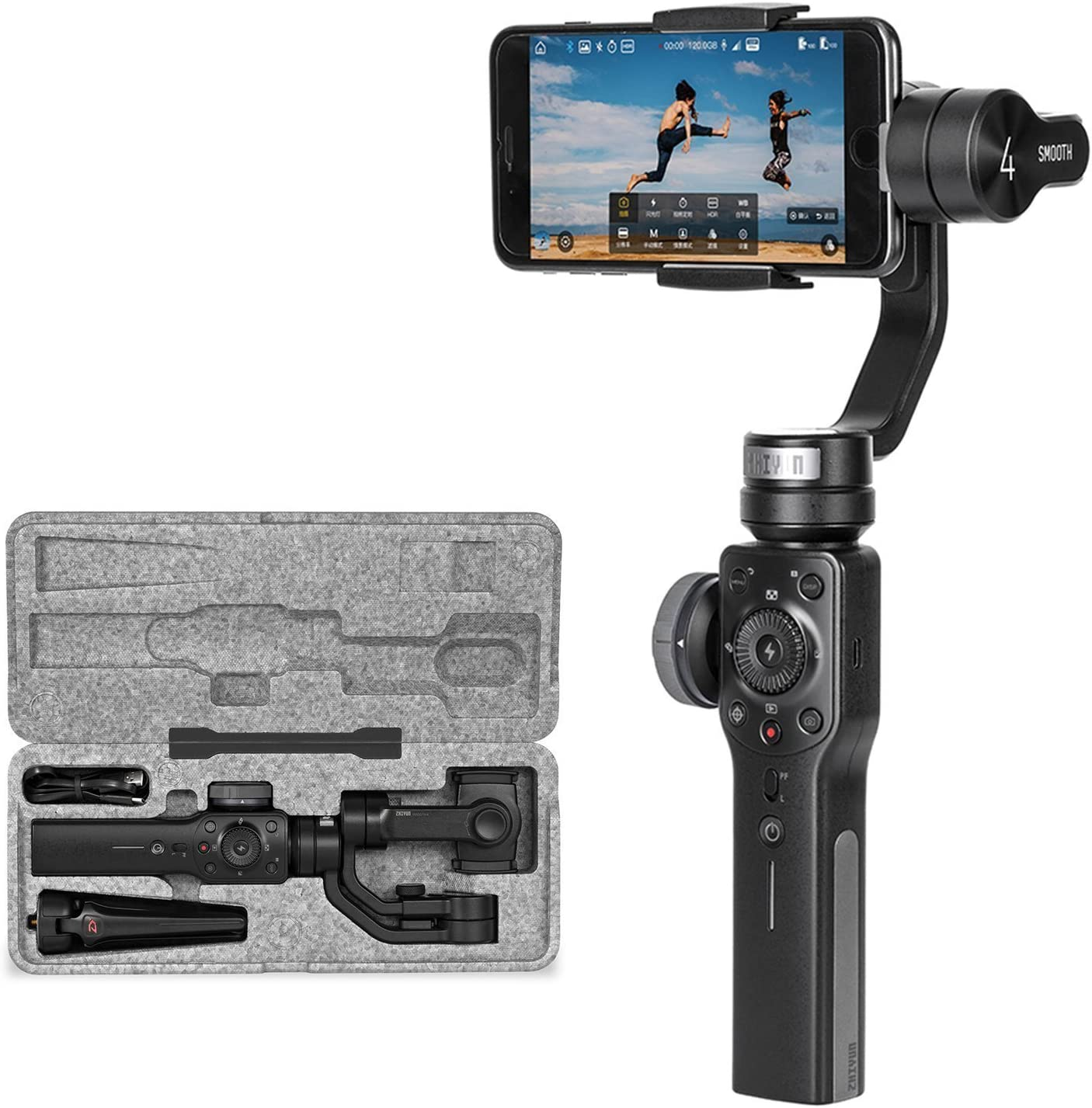 Zhiyun Smooth 4 Estabilizador manual de 3 ejes para teléfonos inteligentes como iPhone X 8 7 Plus 6 Plus Samsung Galaxy S9 + S9 S8 + S8 S7 S6 Vertigo Shoot Modo Phonego Enfoque Capacidad de tiro zoom