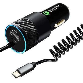 Sunggo - Cargador de coche USB C de 36 W con tecnología de carga rápida 3.0, cable en espiral integrado tipo C para Nexus 6P 5X, LG G6, Galaxy S8/S8+, ...