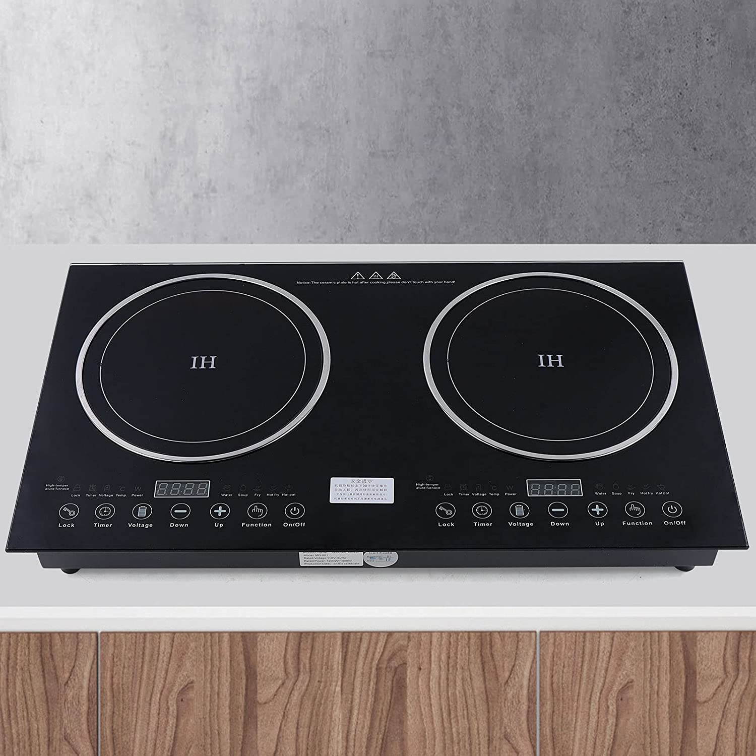 LOYALHEARTDY Double Induction Cooktop, Portable Electric Induction Cooker Infrared Burner Double Burner Faster Heat Dissipation Ceramic-Cooker Cooktop Countertop 1200W + 1400W