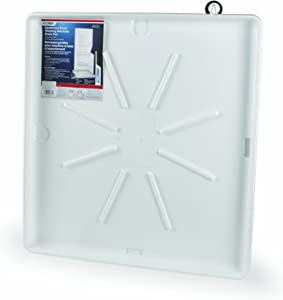 Camco Washing Machine Drain Pan for Stackable Units with PVC Fitting-Collects Water Leakage and Prevents Floor Damage-White (21006)