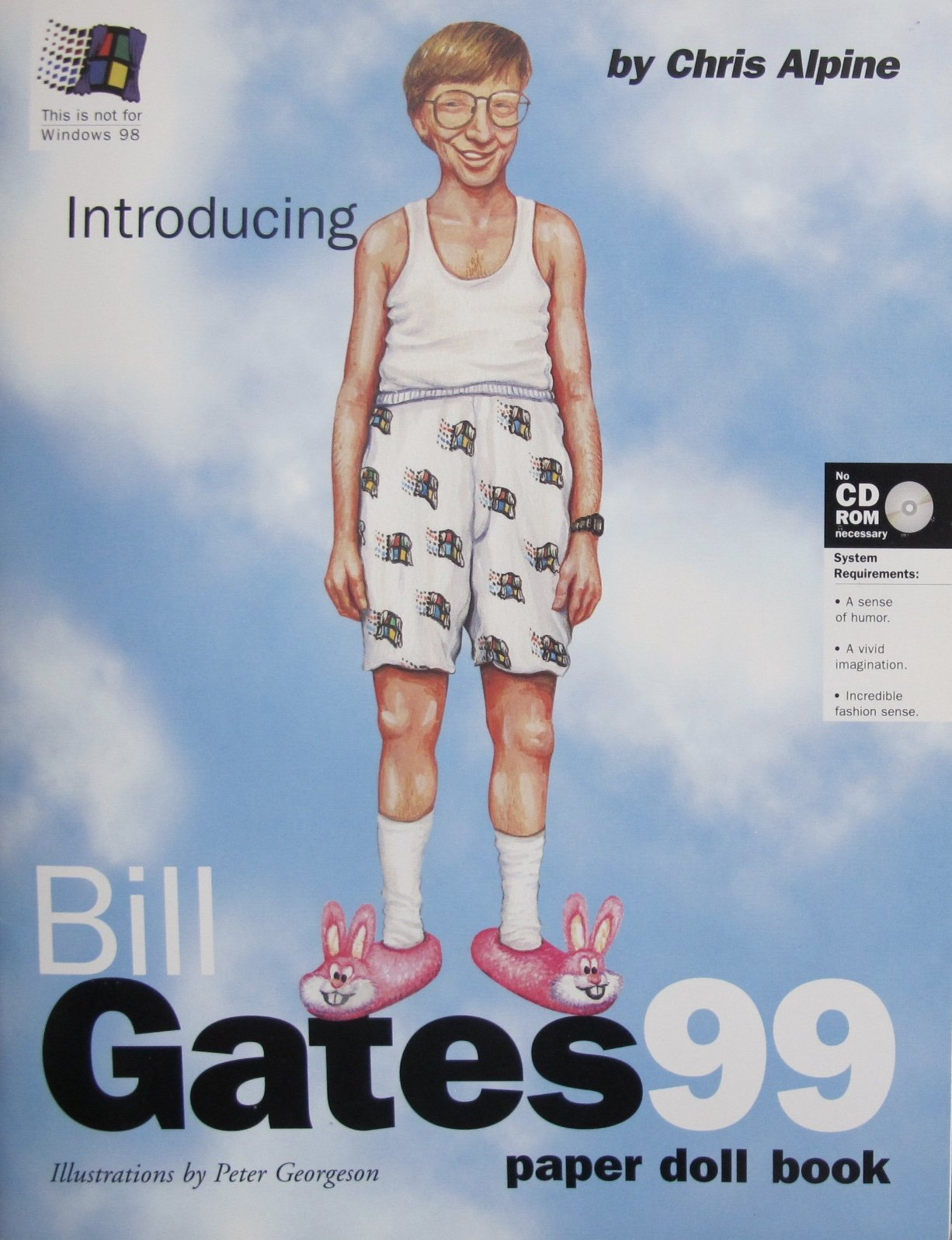 Introducing BILL GATES 99 PAPER DOLL & Microsoft 'Spoof' BOOK by Chris Alpine (UNCUT) w 4 Card Stock DOLLS, Fashions & FUN Microsoft Spoofs (1998)