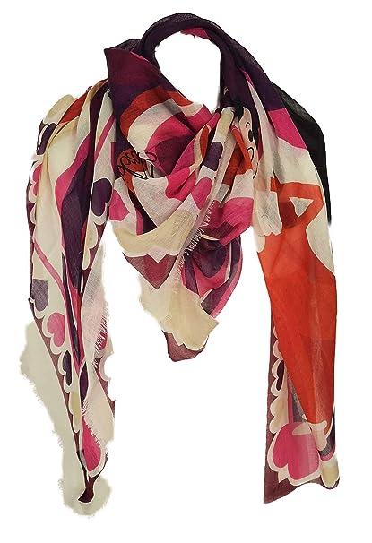 enorme sconto d35d8 89450 Moschino - Scialle Cuori Verde Oliva: Amazon.it: Abbigliamento