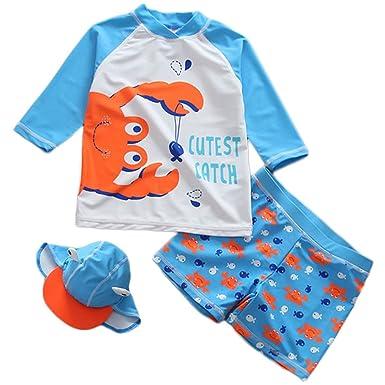 26416da09b Amazon.com: JELEUON Baby Kids Boys Two Pieces Swimwear Long Sleeve Cartoon Crab  Sun Protection Swimsuit UV Rash Guard Set With Cap: Clothing