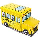 Bieco 04000506 - Cassapanca/cesta per giocattoli, 55 x 26,5 x 31,5 cm, a forma di scuolabus