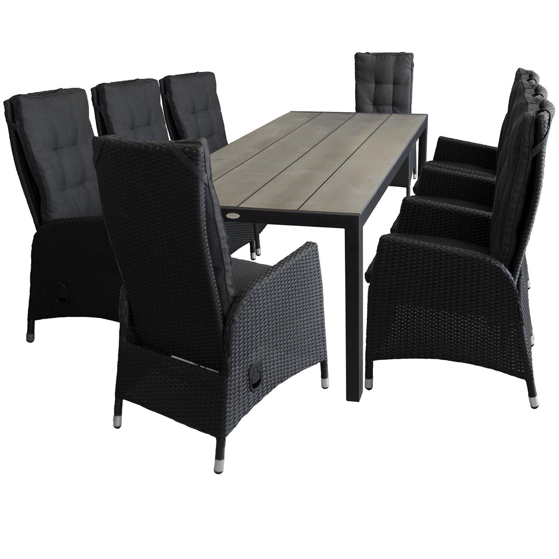 9tlg. Sitzgruppe Sitzgarnitur Gartentisch mit Polywood-Tischplatte 205x90cm Schwarz/Silbergrau 8x Sessel mit Poly-Rattangeflecht stufenlos verstellbare Lehne Schwarz Gartengarnitur