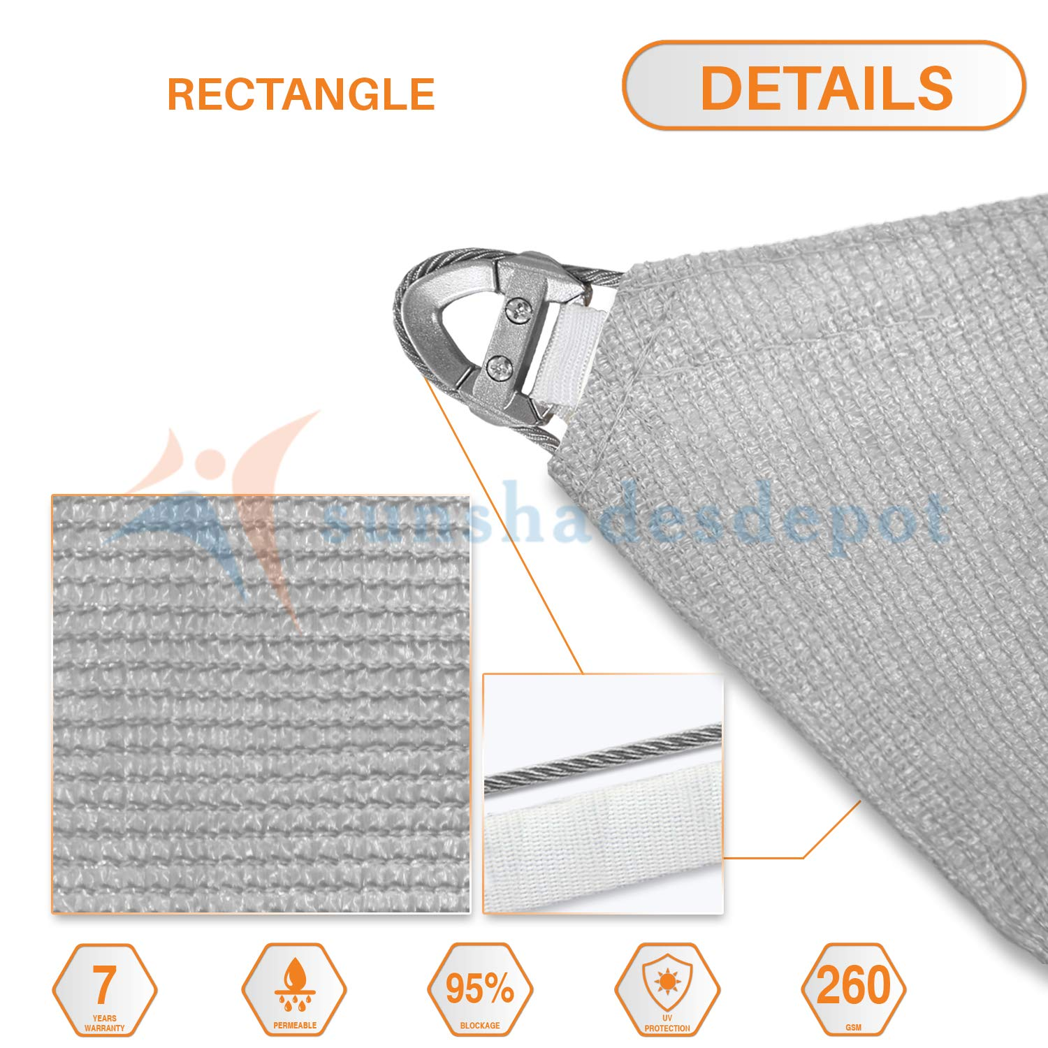Sunshades Depot A Ring Design Steel Cable Wire Reinforcement Sun Shade Sails 29 x 33 Rectangle Light Gray Heavy Duty Permeable 260 GSM
