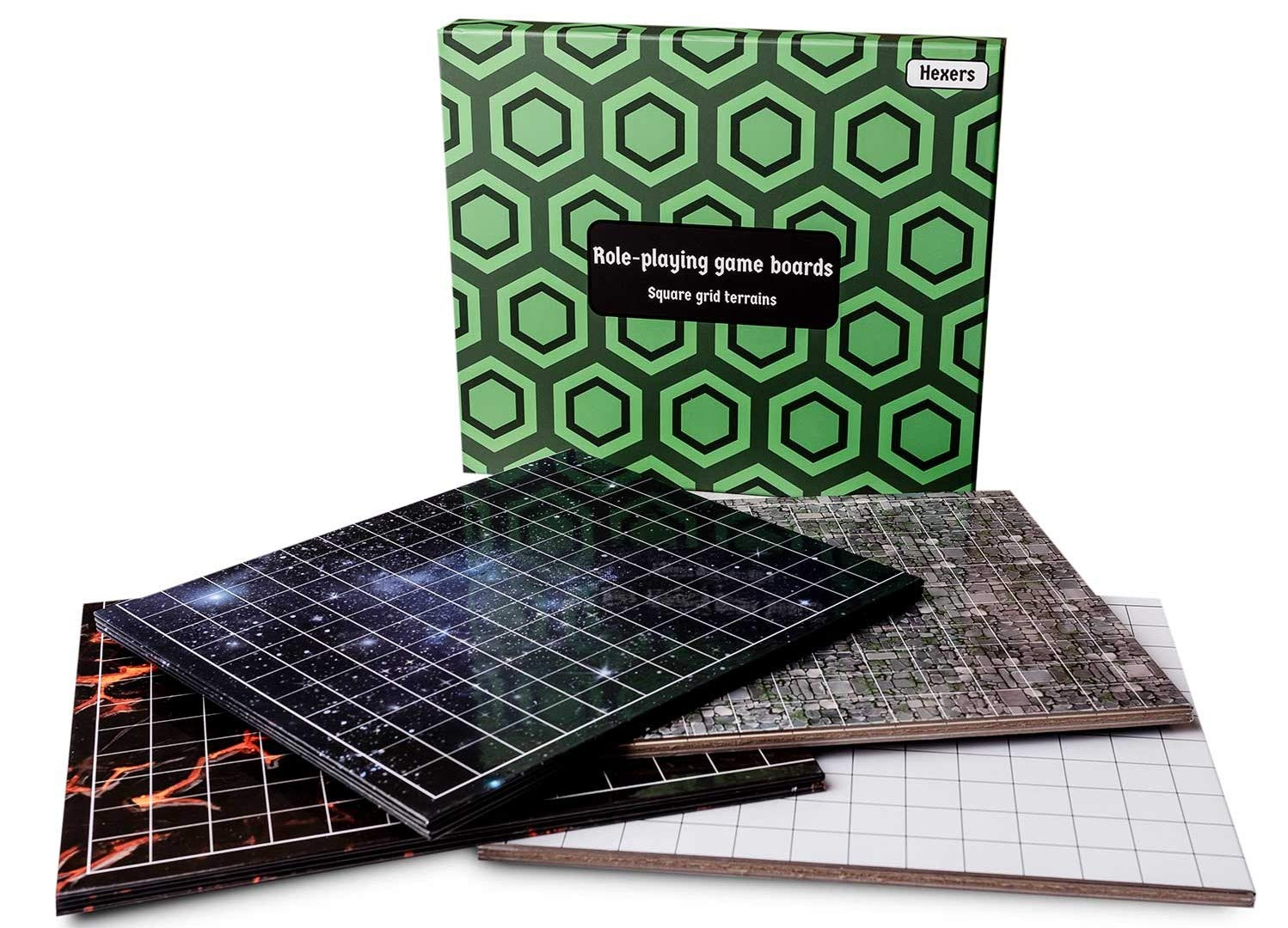 Foldable /& Dry Erase Hexers Role-Playing Game Board 8 Different terrains 27 on 23 inches Dungeons and Dragons DND Pathfinder RPG Compatible Square Grid Terrains 1 inch Squares
