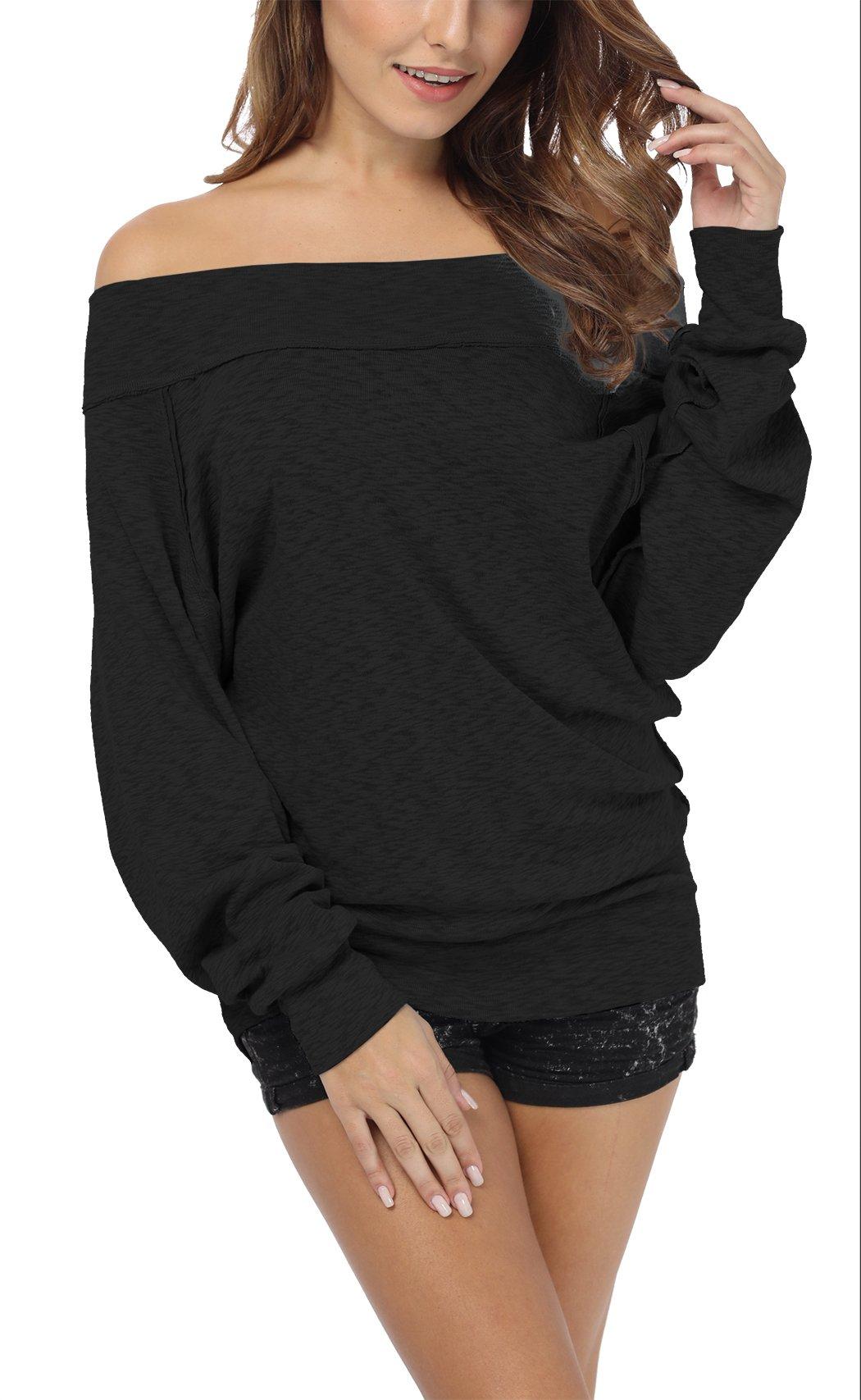 iGENJUN Women's Dolman Sleeve Off The Shoulder Sweater Shirt Tops,Black,M by iGENJUN (Image #2)