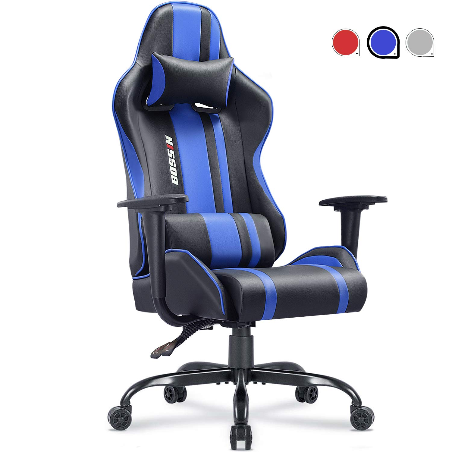 Gaming Chair Racing Style Office Chair Adjustable Height Chair Ergonomics High-Back Chair PU Leather Gaming Chair Swivel PC Computer Chair with Headrest and Lumbar Support Blue