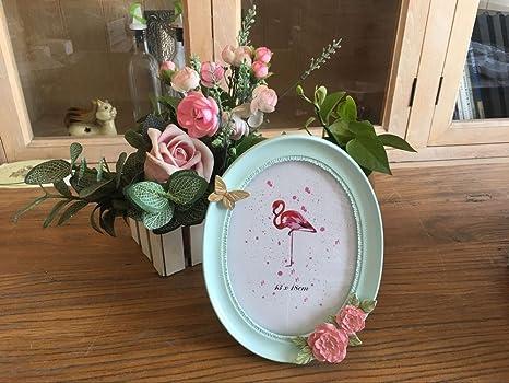 Bbdsj Creative Photo Frame 6 Pulgadas 7 Pulgadas 8 Pulgadas Vidrio del Espejo Resina Portaretrato Flor