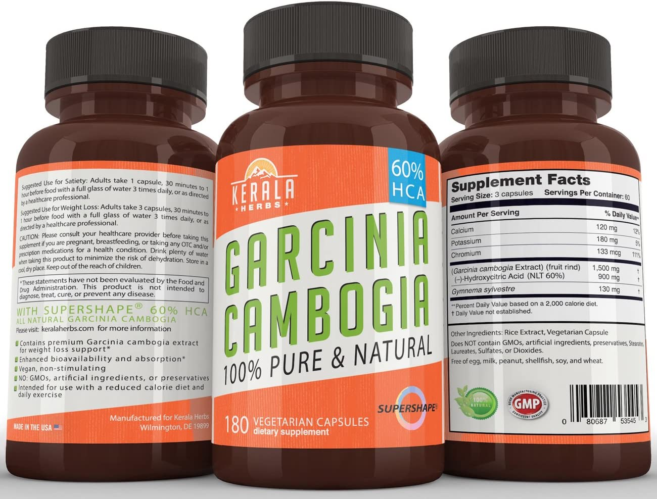 Garcinia Cambogia 100 Pure Extra Strength Extract with 60 HCA, 180 Capsules, All Natural Appetite Suppressant, Fat Burner, Carb Blocker, Weight Loss Diet Supplement That Works for Women and Men