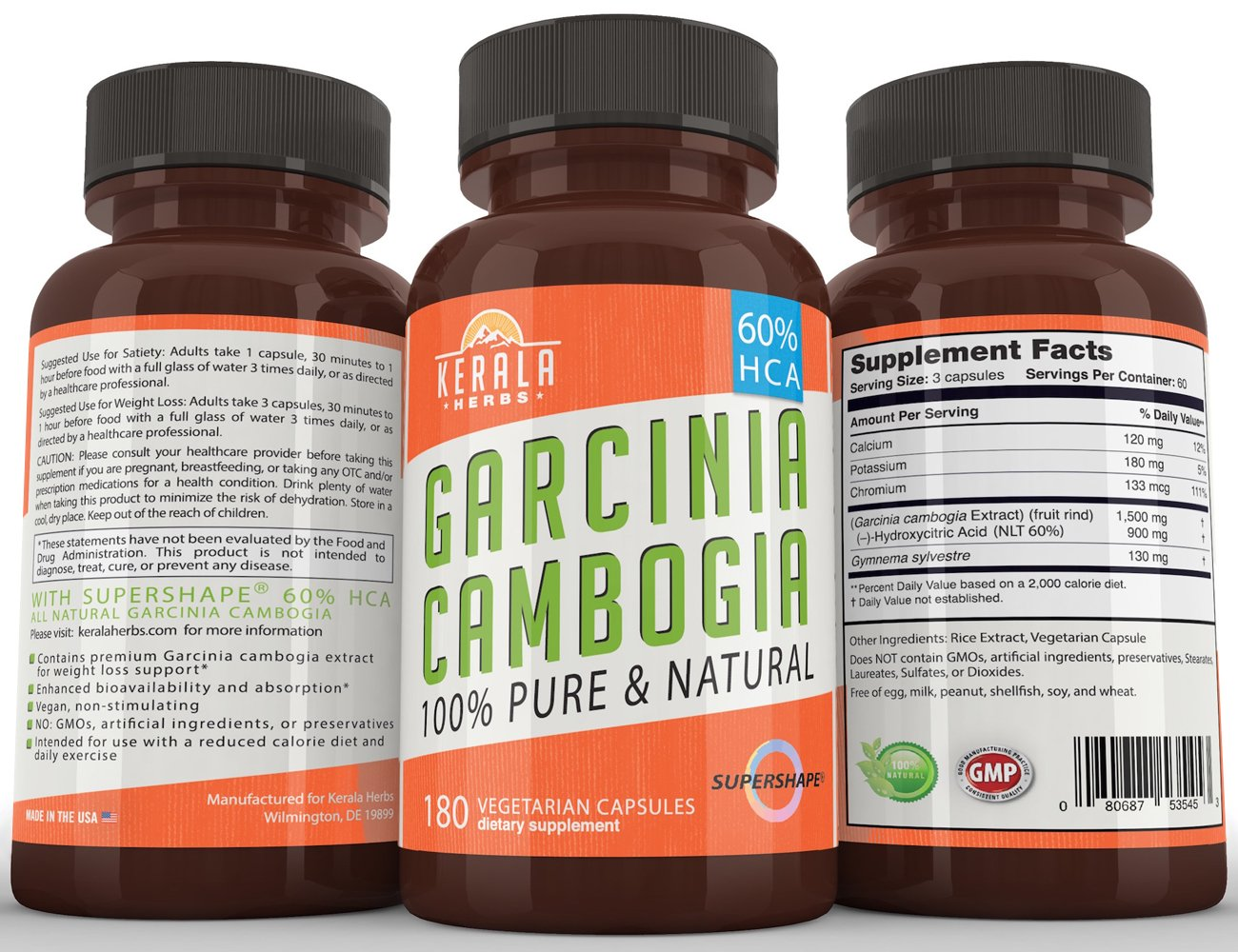 Garcinia Cambogia 100% Pure Extra Strength Extract with 60% HCA, 180 Capsules, All Natural Appetite Suppressant, Fat Burner, Carb Blocker, Weight Loss Diet Supplement that Works for Women and Men by Kerala Herbs