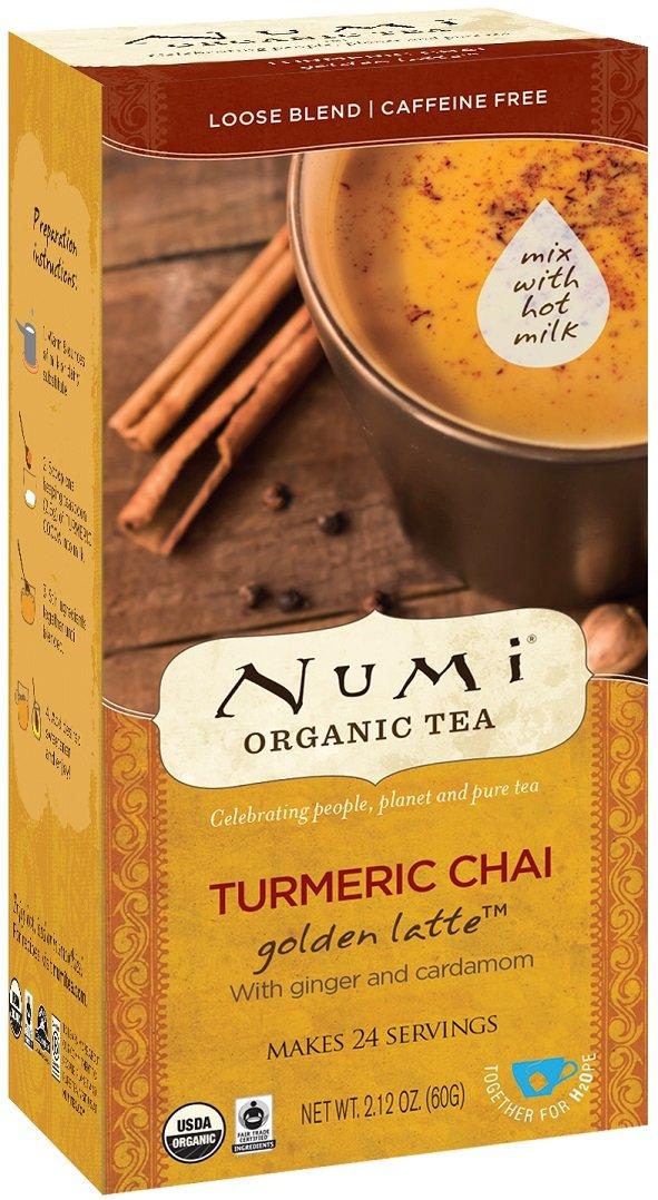 Numi Organic Tea Turmeric Chai, 24 Servings, Golden Latte Powder, Caffeine-Free (Packaging May Vary)