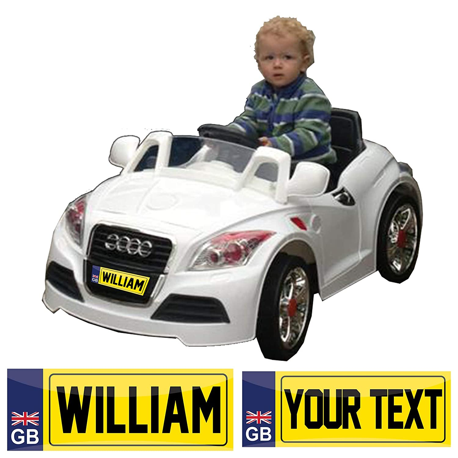 123t PERSONALISED METAL MINI LICENCE NUMBER PLATE - KIDS CHILD NOVELTY RIDE ON PEDAL ELECTRIC CAR - Trike Truck Toy Bedroom Door Sign / Plaque (29.5cm x 9cm)