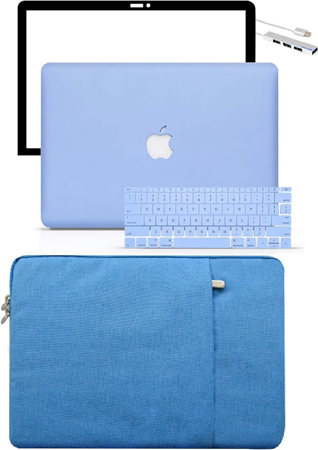 LuvCase 5 in 1 Laptop Case for MacBook Air 13 Inch (Touch ID)(2020) A2179 Retina Display Hard Shell Cover, Slim Sleeve, Pouch, Keyboard Cover & Screen Protector (Serenity Blue)