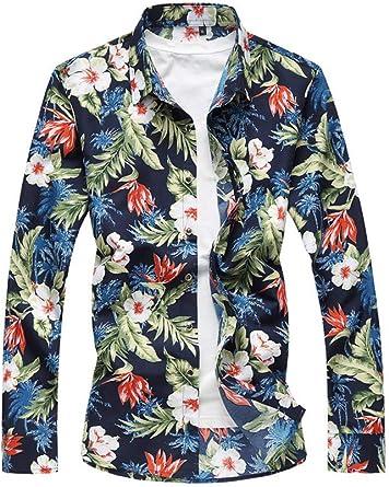 Hombre Talla Extra Manga Larga Estilo Hawaiano Floral Camisa ...