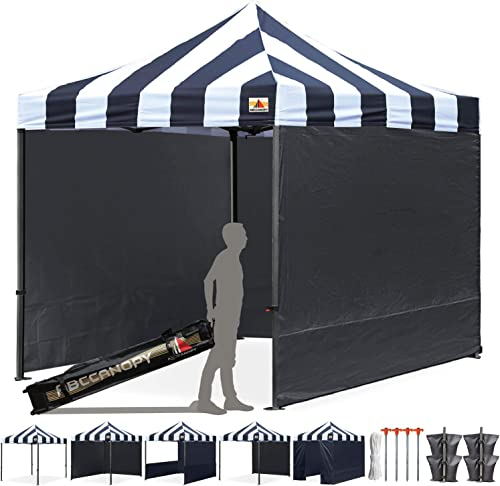 ABCCANOPY Professional 10 x10 Easy Pop-up Canopy Tent Commercial Instant Shelter with Wheeled Carry Bag and 6 Removable Sidewalls, Bonus 4 Weight Bags Striped Black