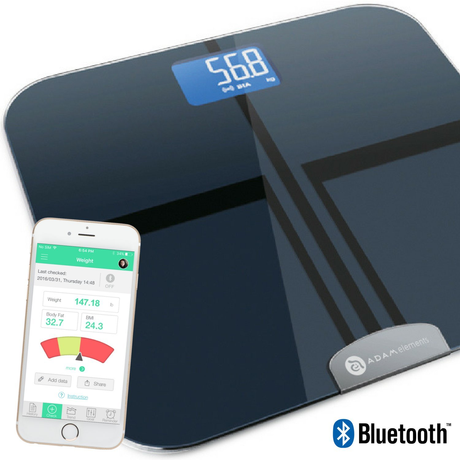 A ADAM ELEMENTS Smart Scale Digital Weight and Body Fat Composition Analyzer with Smartphone App