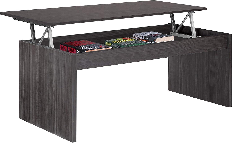 Habitdesign 001638G - Mesa de Centro elevable Modelo Zenit, mesita Mueble Salon Comedor Acabado en Gris Ceniza, Medidas: 102 cm (Ancho) x 43/52 cm de (Alto) x 50 cm (Fondo): Amazon.es: Hogar