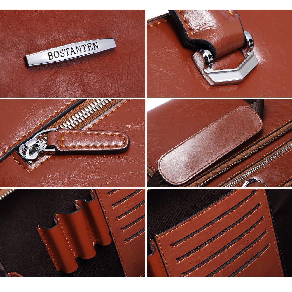 BOSTANTEN Leather Briefcase Shoulder 15.6''Laptop Business Vintage Slim Messenger Bags for Men & Women by BOSTANTEN (Image #4)