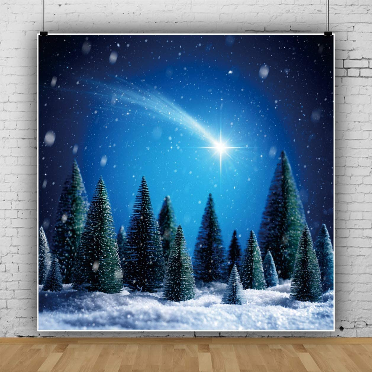 YEELE Night Winter Landscape Backdrop Comets Streaked Across The Sky Photography Background 9x9ft Christmas New Year Indoor Photo Portrait Booth Shooting Vinyl Cloth Studio Props