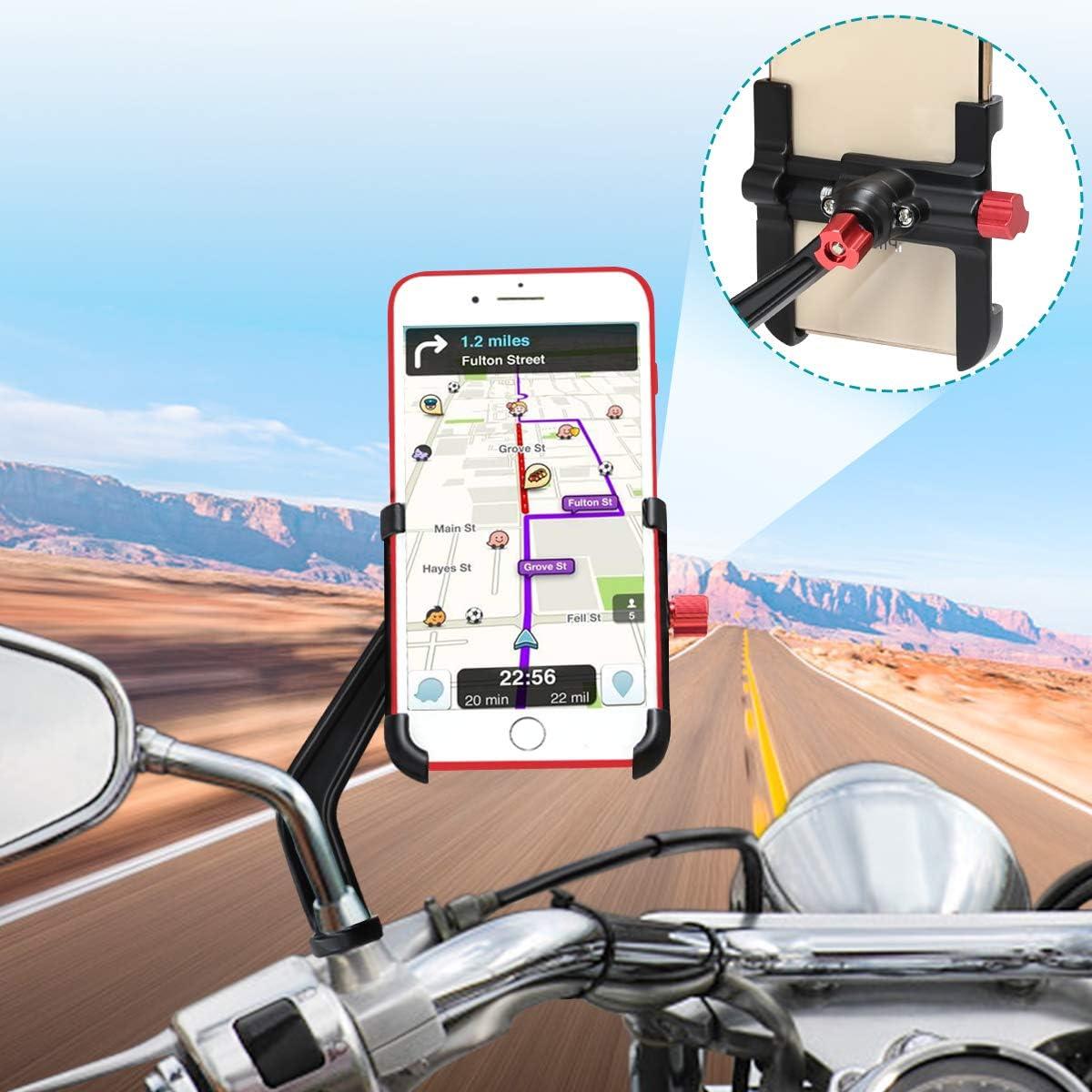 Soporte Móvil Moto Aluminio 360° Rotación Soporte Movil Scooter Soporte Telefono para Moto Motocicleta, Universal Soporte Smartphone Moto Retrovisor para iPhone Samsung Huawei (4-6.8