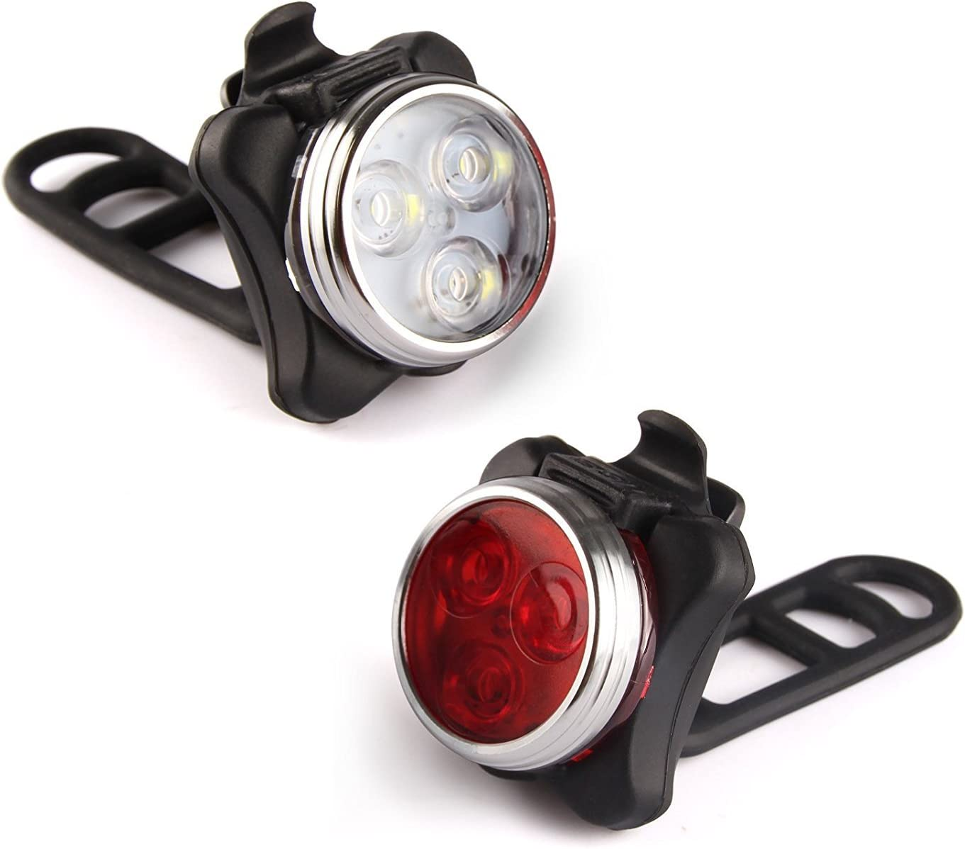 ESTIQ USB Rechargeable Safety Bike Light Set – Super Bright Front Headlight and Free Rear LED Bicycle Light – 650mah Lithium Battery – 4 Light Mode Options – Water Resistant IPX4, 2 Pack