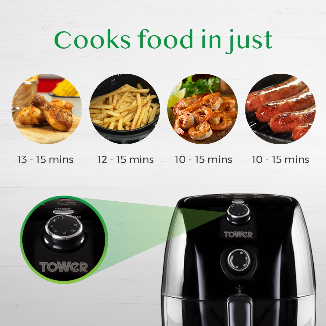 Tower T17025 Compact Air Fryer With 30 Minute Timer 1000 W 15 Locklock Food Container Classics 34l Hpl848 Litre Black Kitchen Home
